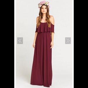 Show Me Your Mumu Caitlin Ruffle Maxi Dress MERLOT